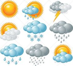 Buy Weather Icons by Dazdraperma on GraphicRiver. Nine weather related icons. Dementia Activities, Infant Activities, Free Printable Clip Art, Free Printables, Weather Symbols For Kids, Weather Song, Windy Weather, Diy And Crafts, Crafts For Kids