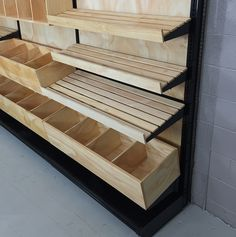 wood slat shelving bakery display