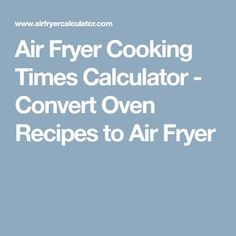 Air Fryer Cooking Ti