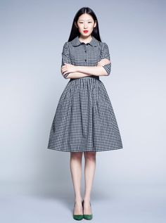 Black and White Tartan Dress by Mrs Pomeranz by mrspomeranz