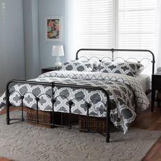b5d0f87c70 Baxton Studio Celeste Vintage Industrial Black Finished Metal Full Size Bed  Full Bed, Industrial Platform