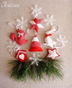 Текстильные игрушки на елку.