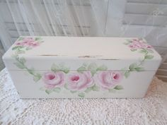 sunny-sommers on Ebay! BEAUTIFUL RECIPE BOX or SHELF hp roses chic shabby vintage cottage hand painted  #SHABBYROMANCE