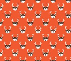 Cute kids uni colorful reindeer antlers deer illustration pattern HOT ORANGE fabric by littlesmilemakers on Spoonflower - custom fabric
