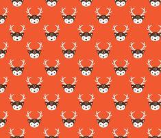 Cute kids uni colorful reindeer antlers deer illustration pattern HOT ORANGE fabric by littlesmilemakers on Spoonflower - custom fabric