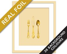 Cutlery Art Print - Gold Foil Print - Knife Fork Spoon Art - Vintage Silverware Art Print - Cooking Art - Gold Foil Kitchen Art - Chef Gift