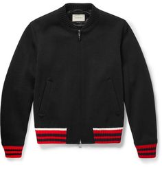 GUCCI Stripe-Trimmed Wool-Blend Bomber Jacket. #gucci #cloth #coats and jackets