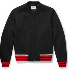 Gucci Stripe-Trimmed Wool-Blend Bomber Jacket | MR PORTER