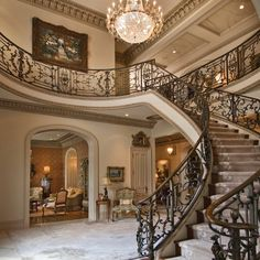 I Love Unique Home Architecture. Simply stunning architecture engineering full of charisma nature. Foyer Staircase, Staircase Design, Stairs, Staircases, Foyer Design, Entry Foyer, Beautiful Interiors, Beautiful Homes, Beautiful Curves