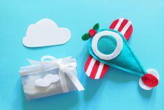 Set di 10 sacchetti per confetti con nuvole,il sacchetto portaconfetti per la cornice aeroplano in feltro 'fotoplano'
