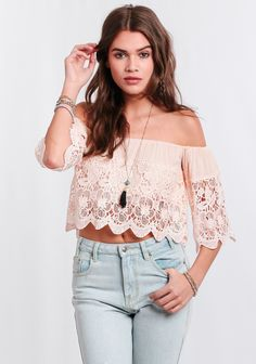 Westwood Off-Shoulder Lace Crop Top at #threadsence @threadsence