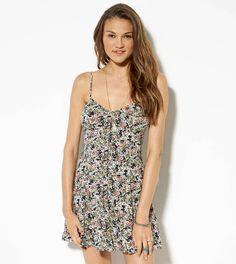 Olive AEO Printed Slip Dress