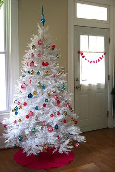 A white Christmas tree with pink lights. | Christmas Trees ...