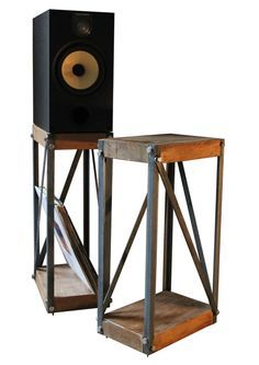 KONK! - Oak/Steel Industrial Speaker Stands (PAIR) [Bespoke sizes available!]