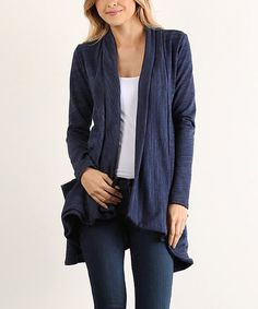 Loving this Navy Terry Open Cardigan on #zulily! #zulilyfinds