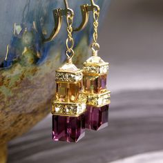 Amethyst and Topaz Crystal Earrings Gold Purple Plum by fineheart, $42.00
