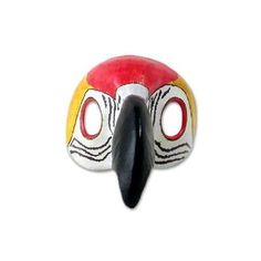 Novica Scarlet Macaw Leather Carnaval Bird Mask Wall Décor