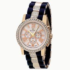 Reloj azul y plateado de la marca BELLE QUEEN de CRISTIAN LAY. www.cristianlay.com