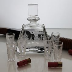 Ready to take a shot? You can't miss with this set!  Crystal Whiskey Decanter Set with Hunting Engraving – Gifts by Kasia