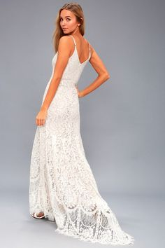Open your eyes to a world of beautiful possibilities in the Awaken My Love White Long Sleeve Lace Maxi Dress! Crocheted lace elegantly graces the fitted bodice of this stunning dress, with a V-neckline and sheer long sleeves. White Dresses For Women, Little White Dresses, Dresses For Teens, Dresses Online, Trendy Dresses, Affordable Wedding Dresses, Best Wedding Dresses, Bridal Dresses, Lulus Wedding Dress