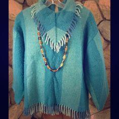 Vintage One of a Kind Boho 70's Blanket Top Nice soft blanket fabric in blue plaid. Front fringed placket, fringe on hem,  1/4'zipper back Vintage Tops Tunics