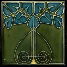 Art Nouveau Tile with upside down love heart, olive green surrounds and blue leaves.
