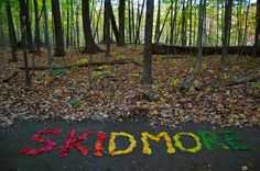 Spelling out words with fall leaves! Rainbow leaves say Skidmore at Skidmore College! Creative Thought Matters.