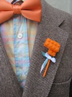 Lego Boutonniere: Wonder if I could make that look like a flower? Well, my boys could!