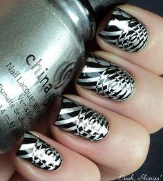 Silver and black finger nail polish design idea