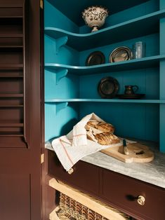 teal painted kitchen larder aka a pantry