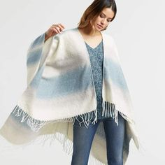 #ad Cost Plus World Market Sky Blue and Ivory Ombre Stripe Talula Blanket Wrap. Great for Fall 2018 & Winter 2019. ON trend fashion.