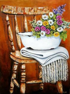 Stella Bruwer white enamel basin folded white throw  summer flowers in white pink and light purple  on shabby wooden chair