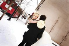 Adorable bride and groom in the snow. Photo by Andrea Murphy Photography www.wedsociety.com #wedding #snow #brideandgroom