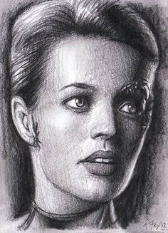 Seven of Nine Star Trek Voyager Original Hand Drawn ACEO Sketch Card Mint A.Fry