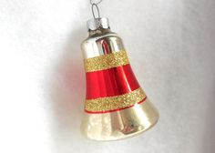 50s Bell Christmas Ornament Silver Red Chic Glass Collectible Tree CIJ Christmas in July by JewlsinBloom on Etsy