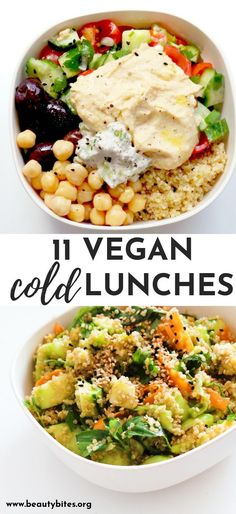 11 Clean Eating Cold Lunches Easy Vegetarian Ideas Beauty Bites 11 healthy cold vegan lunches These easy clean eating lunch ideas are great for the office and can Quinoa Recipes Easy, Whole Food Recipes, Healthy Recipes, Vegan Polenta Recipes, Vegan Recipes For Beginners, Easy Recipes, Vegan Avocado Recipes, Vegan Recipes For One, Dinner Recipes