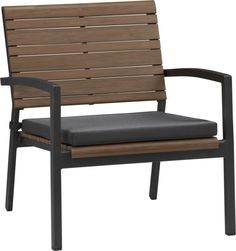 Rocha Lounge Chair with Sunbrella® Charcoal Cushion  | Crate and Barrel