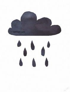 Little Black Rain Cloud  Watercolor Painting  Art by littlecatdraw