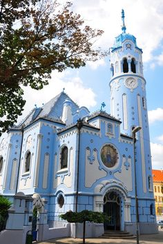 The Church of St. Elizabeth commonly known as Blue Church (Modrý kostolík), Bratislava, Slovakia Sacred Architecture, Church Architecture, Places Around The World, Around The Worlds, Bósnia E Herzegovina, Les Balkans, Temple, Bratislava Slovakia, Take Me To Church