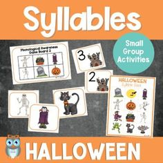 Includes a variety of themed songs, rhyming, alliteration, and syllable counting activities perfect for small group lessons and literacy centers. Grab this easy to prep set of early literacy Halloween themed printables for preschool, prek, and kindergarten students. lessons, and games can be used the entire month of October with the differentiated materials to meet the needs of all your early childhood learners.Great addition to a Halloween theme or fall theme.