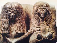 Steatite Shawabti statue of the noble Meni and his wife Henut Iunu.  19th dynasty, Cairo Egyptian museum.