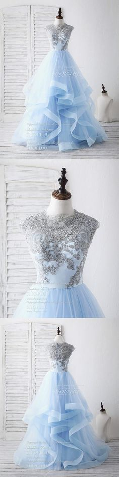 Blue tulle lace applique long prom dress blue tulle sweet 16 dress, blue tulle wedding dress