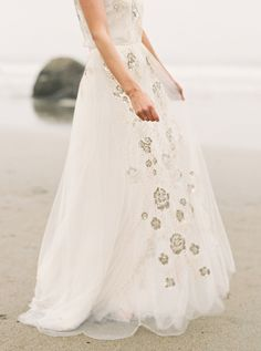 embellished wedding gown - photo by Sawyer Baird Photography http://ruffledblog.com/northern-california-beach-elopement