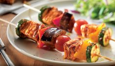 Sun-dried tomato pesto haloumi & vegetable kebabs