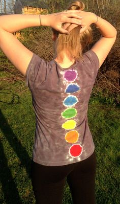 Red and Grey Tie Dye Woman's Large Shirt with Chakras