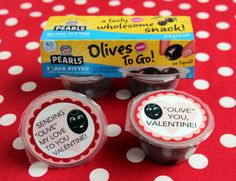 Need a quick and tasty Valentine's Day project? Print our pre-made labels and stick 'em on Pearls Olives To Go cups!
