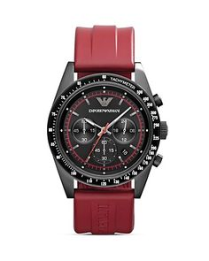 Emporio Armani Tazio Black Watch with Red Rubber Strap, 43mm. $345.00 http://www1.bloomingdales.com/shop/product/emporio-armani-tazio-black-watch-with-red-rubber-strap-43mm?ID=710259&CategoryID=1000066&LinkType=#fn=BRAND%3DEmporio Armani%26spp%3D35%26ppp%3D96%26sp%3D1%26rid%3D%26spc%3D63