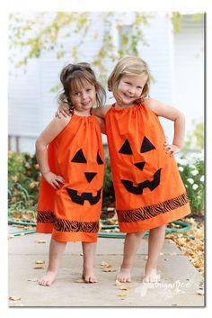 how to make your own Pillowcase Pumpkin Dress - cute halloween costume diy idea - - Sugar Bee Crafts