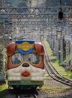 Cable car with a cute 'doggie face'! Ikoma Cable Line to Mt. Ikoma, Nara, Japan Version Voyages, www. Nara, Japan Kawaii, Trains, Desu Desu, All Things Cute, Train Tracks, Japanese Culture, Japan Travel, Kyoto