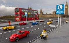 Three of the capital's landmarks have been imagined with lanes reserved for   Lego's new series of Ferraris